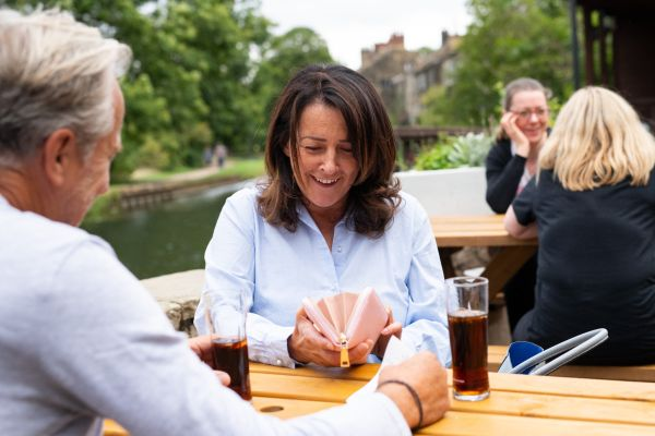 Couple drinking in a beer garden