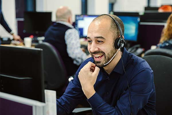 male colleague on the phone headset