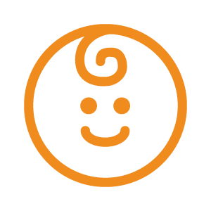 An orange icon of a smiling baby