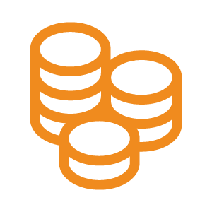 An orange icon of a pile of coins