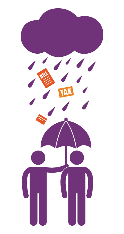purple icon of two people under an umbrella sheltering them from bills and credit cards