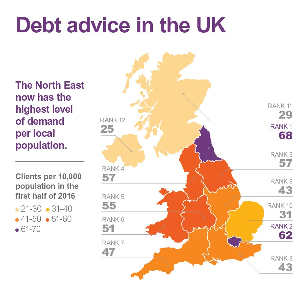 debt advice demand in the UK