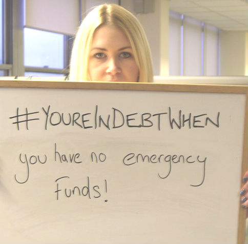 you're in debt when you have no emergency funds